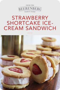 Strawberry Shortcake Ice-Cream Sandwich is the ultimate sweet treat. Made with farm fresh strawberries this simple recipe only takes 30 minutes to make. Click the image for the recipe. #strawberryrecipes #icecreamsandwich #dessertrecipes #dessertideas