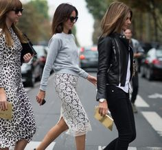 sweatshirt with lace pencil skirt, street style