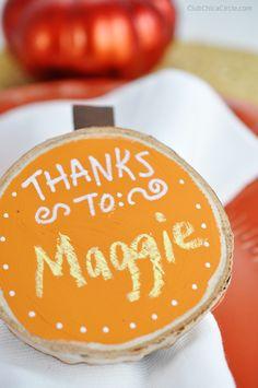 Thanksgiving Homemade DIY Wood Chalkboard Napkin Rings