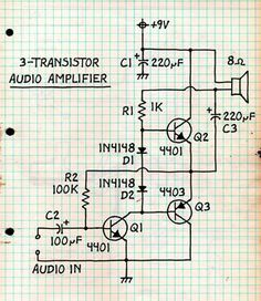 Ampli BF a transistors Electronic Circuit Projects, Electronic Kits, Electronic Schematics, Electronic Engineering, Control Engineering, Engineering Projects, Electrical Engineering, Electronics Basics, Hobby Electronics