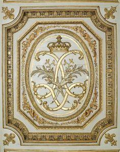 Boiserie au chiffre de Louis XIV. Versailles, Louis Xiv, Decoration Baroque, Ludwig Xiv, Tv Decor, Home Decor, Victorian Dolls, Home Wallpaper, Ceiling Design