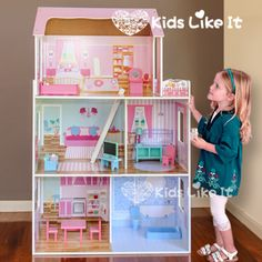 New-GIRLS-Pink-DAISY-Wooden-116CM-Pretend-PLAY-Doll-DOLLS-HOUSE-Full-FURNITURE