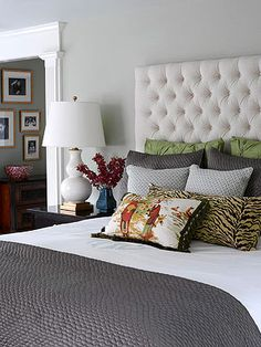 Bedroom   gray walls + subtle patterns and textures