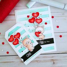 card tag critters pig piggy hog heart shaped balloons MFT Hog Heaven Die-namics, MFT bold stripes cover up background die Die-namics Handmade Tags, Greeting Cards Handmade, Card Kit, Card Tags, Valentine Love Cards, Mft Stamps, Paper Crafts For Kids, Animal Cards, Heart Cards