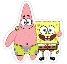 spongebob and patrick Sticker Stickers Cool, Preppy Stickers, Bubble Stickers, Cartoon Stickers, Printable Stickers, Laptop Stickers, Cartoon Cartoon, Cartoon Characters, Spongebob Best Friend