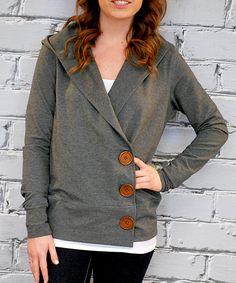 Charcoal Asymmetric Button-Up Cardigan
