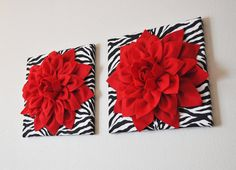 TWO+Wall+Flowers+Red+Dahlia+Flowers+on+Black+and+White+by+bedbuggs,+$66.00------DIY Except NO zebra stripes!!!!