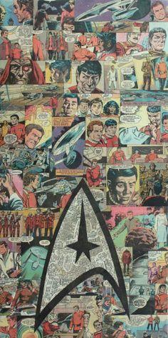 Star Trek Comic Book Collage by Mike Alcantara Star Trek Wallpaper, Love Wallpaper, Iphone Wallpaper, Star Trek Logo, Star Trek Tv, Star Trek Ships, Star Wars, Star Trek Books, Star Trek Movies