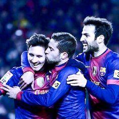 Jordi Alba, Fabregas and Messi  FC Barcelona