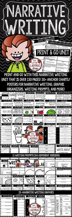Narrative Writing Unit created to assist in teaching this writing skill. It contains components from my lessons and activities I use to teach my students. All you have to do is print and GO with this mini unit to assist you in teaching about Small Moment Writing ~ Narrative Writing. Narrative Writing Prompts, Personal Narrative Writing, Personal Narratives, Writing Resources, Writing Skills, Writing Activities, 3rd Grade Writing, Fourth Grade Math, Third Grade