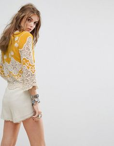 Kiss The Sky Festival Wrap Front Top With Embroidery And Crochet Inser