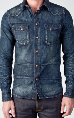 Raw denim, shoes and accessories online - cultizm online-sho Jean Shirt Men, Jean Shirts, Mens Boots Fashion, Denim Fashion, Star Clothing, Stylish Mens Outfits, Nudie Jeans, Raw Denim, Men Design