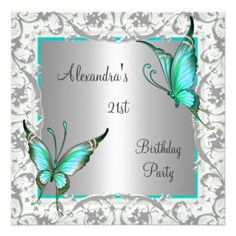 21st Birthday Teal Floral Butterfly Silver White Personalised Announcement