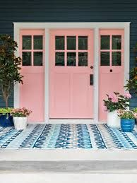 The updated HGTV Urban Oasis 2017 showcases an inviting front porch, eye-catching color scheme, and improved landscaping packed with different shades of pink. Navy Houses, Pink Houses, Exterior House Colors, Exterior Paint, Pink Paint Colors, House Front Porch, Front Porch Remodel, Door Makeover, House Painting