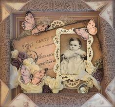 Stempelglede :: Design Team Blog: Baby card. Rubber stamps used for this project: Vintage Baby and Post Card from Paris stamp sets. 2014 © Cathrine Sandvik