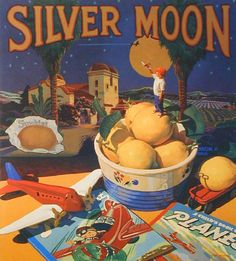 Scott Moore painting ...I have the Evening Star lemon crate label in my kitchen. Like this expansion of it.
