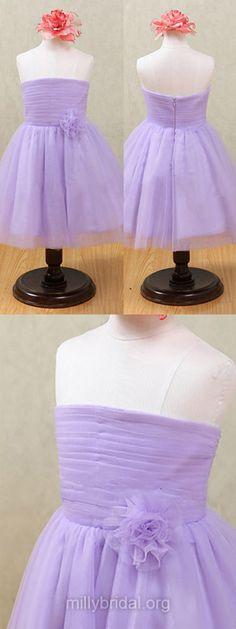 Lavender Flower Girl Dresses Tulle Strapless, Designer Flower Girl Dresses Tutus, Junior Bridesmaid Dresses Vintage