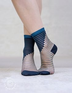 Those blue and transparent socks will accessories your style like a jewel. Made by the young french design brand Atelier Saint Eustache who get inspired by the Shibuya district in Tokyo. Transparent, Sheer Socks, Designer Socks, Fashion Socks, Ankle Socks, Branding Design, Your Style, Saints, Peep Toe