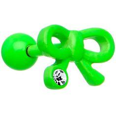 Crystalline Gem Green Neon Enamel Girly Bow Cartilage Earring #piercing #cartilage #stockingstuffer $6.99