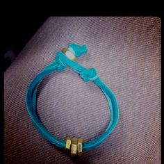 Aqua leather with brass hex nuts (2 sizes)