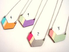 Chevron Necklace, Wood Geometric Necklace, Hand Painted  Wood Necklace,Geometric Jewelry. $14.00, via Etsy.