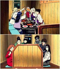 The Naruto Girls' Night Out....haha I think the boys are suspicious! Tsunade Hinata Sakura Ino Tenten, Chouji Shikamaru Rock Lee Shino Kiba Neji  Boys' reactions made me laugh hahahaha.
