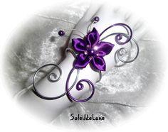 Bracelet fleur violette satin Strass cristal violet ❀ Bracelet mariage fête soirée cérémonie, personnalisable : Bracelet par soleildelune-bijoux-mariage