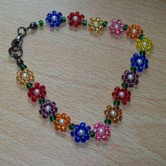 Beaded Flower Bracelet Seed Bead Flowers Necklace