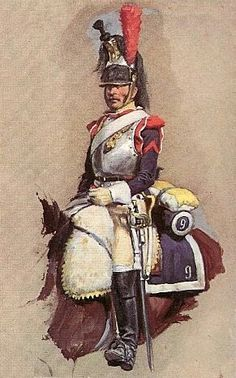 Aquarelle_L_Rousseleot_Trompette_des_Dragons_de_la_GI_grande_tenue_.jpg Photo by Military Art, Military History, Bataille De Waterloo, Military Costumes, Military Uniforms, First French Empire, Warrior Paint, Dragons, French Army