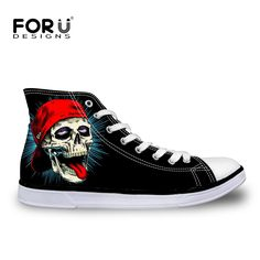 FORUDESIGNS Black Women Shoes High-top Skull Canvas Shoes for Women Leisure Female Ladies Flats Walking Shoes Vulcanize Shoes