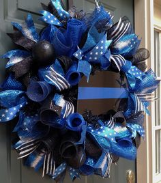 Thin Blue Line Wreath, Police Wreath, Front Door Wreath, Law Enforcement Wreath, LEO, Wreaths, Deco Mesh Wreath, Wreath by ChanceyCreations on Etsy