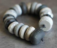 jibby & juna - grey + black pebbles = polymer clay beads + black leather cord (loop)