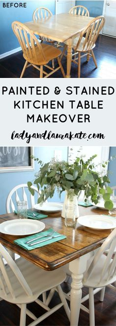 Ever wanted to give your kitchen table a makeover? In this easy tutorial I show you how to paint and stain your way to a whole new DIY kitchen table! (Diy Kitchen Table)