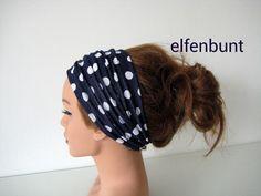 Haarband Dotty marine/weiße Punkte ca. 12 cm  von  Maria Elfenbunt auf DaWanda.com
