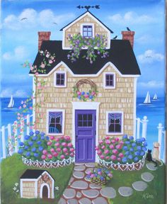Etsy の Hydrangea Hill Cottage Folk Art Print by KimsCottageArt