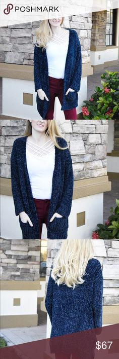 Navy Chenille Cardigan Our navy chenille cardigan is the softest cardigan you will ever own- and yes, we stand by that statement.  If you invest in one more cardigan this year, this should be the one! Sweaters Cardigans