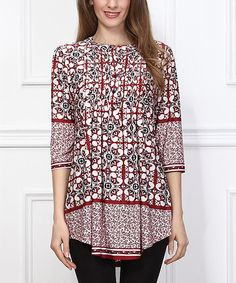 This Red Tile Notch Neck Tunic by Reborn Collection is perfect! #zulilyfinds