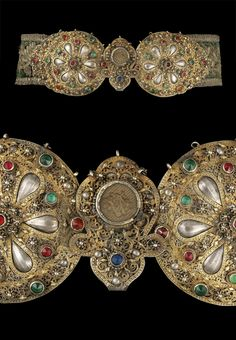 Turkey or Balkans | Ottoman belt; belt buckle formed of two circular plaque sections either side of a lobed element, with filigree detail and faux-gemstones on raised settings, the belt of green velvet on leather embroidered with flowers in silver gilt thread with sequins | ca. 19th century | 3125£ ~ sold (Oct 12) Women's Belts - http://amzn.to/2id8d5j
