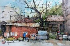 11번째 이미지 Pen And Watercolor, Watercolor Artwork, Watercolor Artists, Watercolor Landscape, Landscape Art, Landscape Paintings, Landscape Photography, City Sketch, Urban Sketching