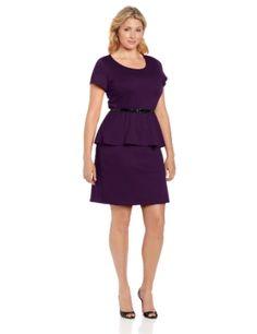 Star Vixen Womens Plus-Size Short Sleeve Belted Ponte Peplum Dress