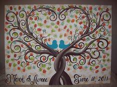 Wedding Guest thumbprint Canvas...Great Wedding guest book alternative...18 x 24 Artist canvas...165-185 Guests $95.00