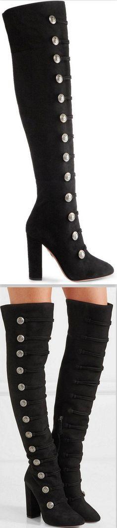 'Rasputin' Embellished Suede Over-the-Knee Boots-Black