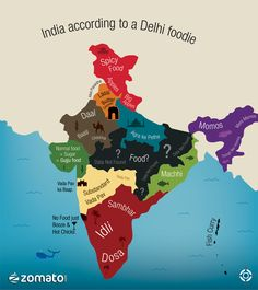 India is known for the unity in the diversity. Every state has its special food in India.This image shows different food kinds of India. India Map, India Travel, India Poster, India India, Spicy Recipes, Indian Food Recipes, Indian Snacks, Healthy Recipes, Food Map