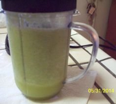"""CACTUS SMOOTHIE, WITH CELERY, GRAPES, APPLES, CACTUS, 1/2 C PINEAPPLE JUICE & ICE.  """"VERY REFRESHING"""""""