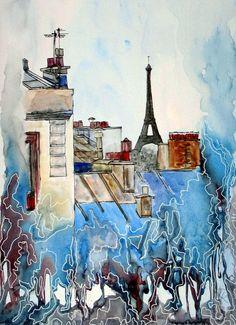 Paris - Original - Aquarell von *zeitgenössische kunst von maria-mercedes* auf DaWanda.com