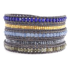Blue Bead Mix Wrap Bracelet on Natural Grey Leather