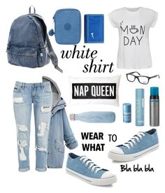 """""""Monday? ugh"""" by itsfarahere ❤ liked on Polyvore featuring Issey Miyake, NIKE, Ally Fashion, Kipling, Ray-Ban, New Look, S'well, Versace, St. Tropez and Toni&Guy"""