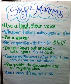 Manners for playing Mystery Skype: play 20 questions with classes around the U.S. To guess their location. Really helps geography skills!