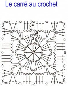 Le carré au crochet carré-au-crochet-236x300 Crochet Squares, Point Granny Au Crochet, Granny Square Crochet Pattern, Crochet Blocks, Crochet Diagram, Crochet Chart, Art Au Crochet, Crochet Diy, Crochet Doilies
