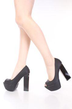 Black Peep Toe Platform Pump Heels Faux Leather